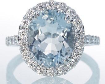 Aquamarine Diamond Halo Solitaire Classic Ring