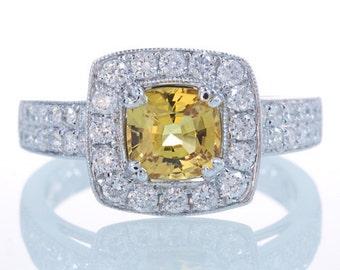 18K White Gold Canary Yellow Cushion Sapphire Diamond Halo Double Row Pave Diamond Engagement Wedding Ring
