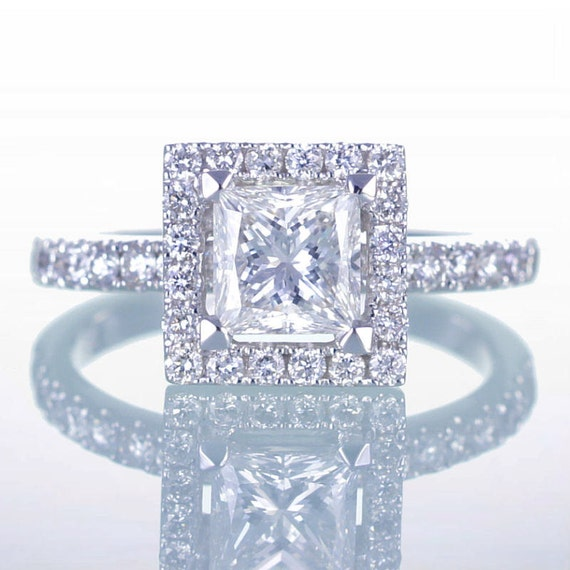 14K White Gold Princess Cut Diamond Engagement Ring with Diamond Halo Solitaire Bridal Set