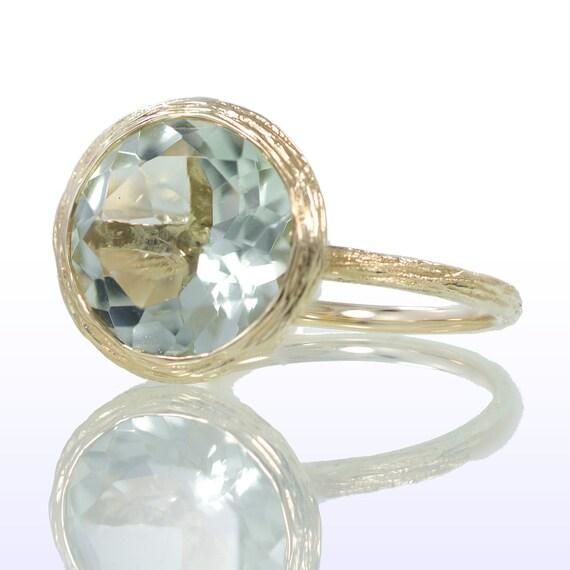 Wood Grain Twig Design Stackable Bezel Set Green Amethyst Engagement Wedding Solitaire Ring