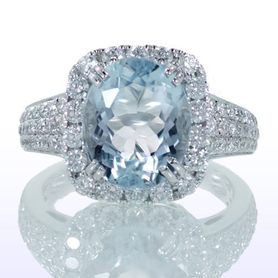 SALE Oval Cut Aquamarine Set In Cushion Diamond Halo