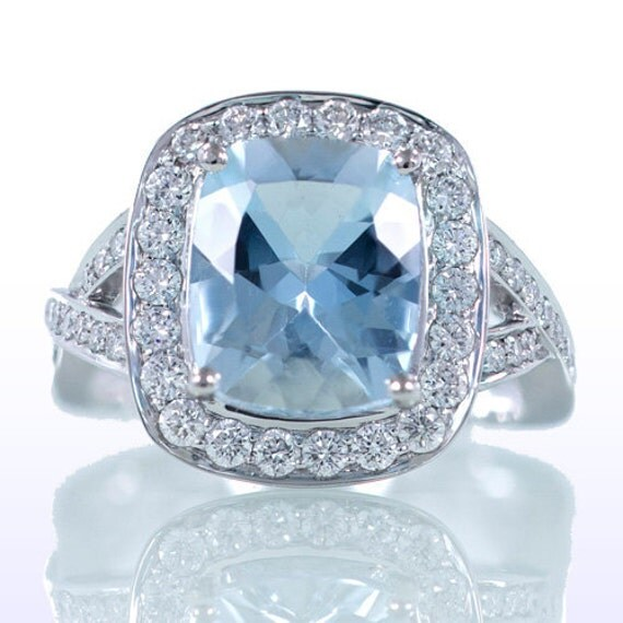 18K White Rose or Yellow Gold Gold Cushion Cut Morganite or Aquamarine Wedding Engagement Anniversary Ring