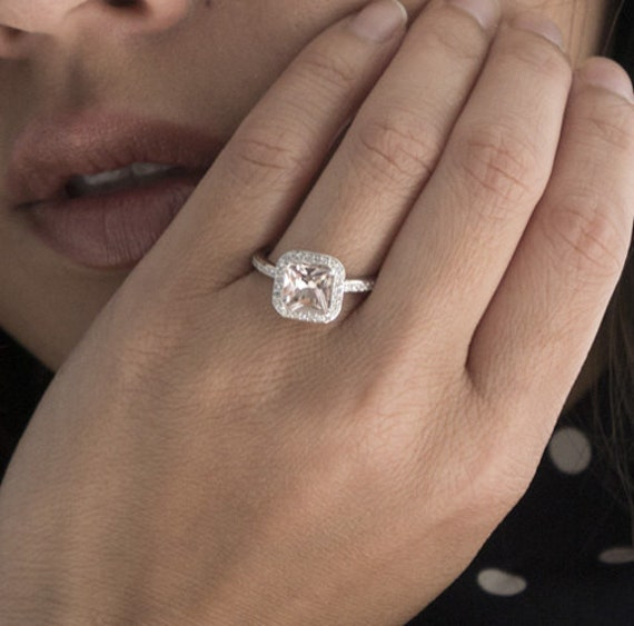 Princess Cut Morganite Diamond Halo Wedding Engagement Anniversary Ring