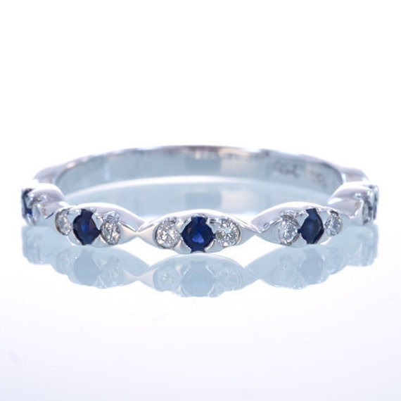 18 Karat White Gold Sapphire and Diamond Stackable Band Wedding Ring