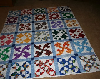 Twin Quilt - Hand Pieced Drunkard's Path