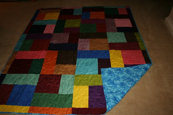 Twin Quilt - Patchwork - Shaded Solids