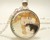 Mother and Child by Gustav Klimt Necklace, Art Pendant, Silver Plate (0453S1IN)