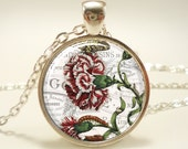 Flower Carnation Necklace, Victorian Style Jewelry, Red Carnation Pendant (0586S1IN)