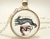 Rabbit Tea Cup Necklace, Hare, Victorian Alice In Wonderland Style Jewelry Pendant (0589S1IN)