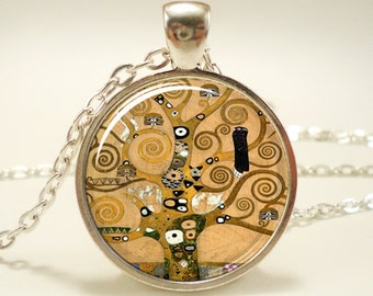 The Tree of Life by Gustav Klimt Necklace, Art Pendant, Gift Ideas (0461S1IN)