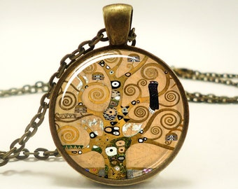 The Tree of Life by Gustav Klimt Necklace, Art Pendant, Gift Ideas (0461B1IN)