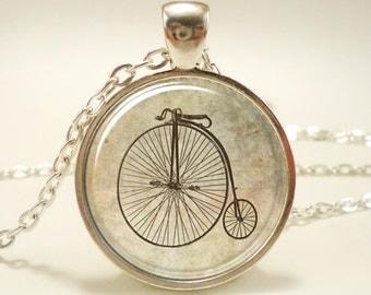 Penny Farthing Bicycle Necklace, Hipster Vintage Style Bike Pendant, Silver Plate (0475S1IN)