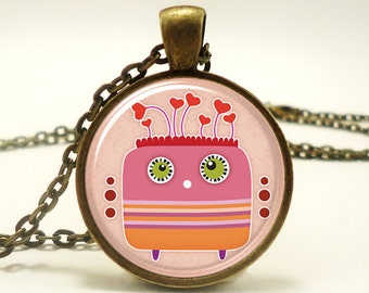 Love Monster Necklace, Cute Kawaii Kids Jewelry, Great Valentines Day Gift, Bronze (0489B1IN)