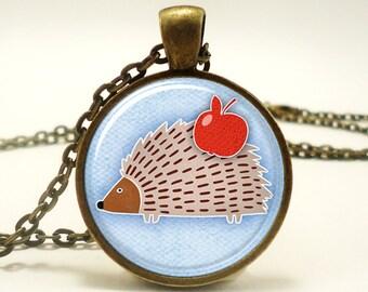 Cute Hedgehog Necklace, Woodland Friends Jewelry, Bronze (0499B1IN)