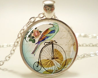 Penny Farthing Bicycle Necklace With Bird, Hipster Vintage Style Bike Pendant, Silver Plate (0510S1IN)