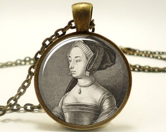 Anne Boleyn Necklace, Queen of England Tudor Portrait Pendant, Henry VIII, Bronze (0519B1IN)