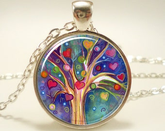 Tree of Life Pendant, Whimsical Illustration Tree And Heart Necklace (0677S1IN)