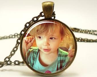 Custom Photo Necklace, Personalized Keepsake Photo Jewelry, Personalized Necklace, Personalized Memorial Jewelry (PHOB1IN)