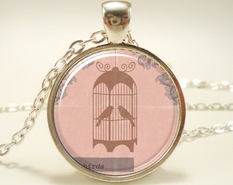 Bird Necklace, Birdcage Pink Victorian Style Jewelry, Bird In A Cage (0590S1IN)
