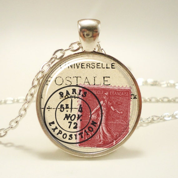 Stamp Paris France Necklace, Vintage Style French Art Pendant, Silver Plate (0446S1IN)