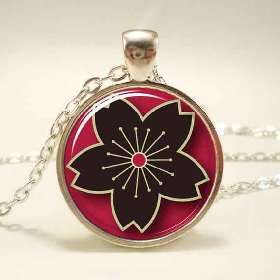 Sakura Cherry Blossom Necklace, Japanese Style Flower Pendant, Silver Plate (0468S1IN)