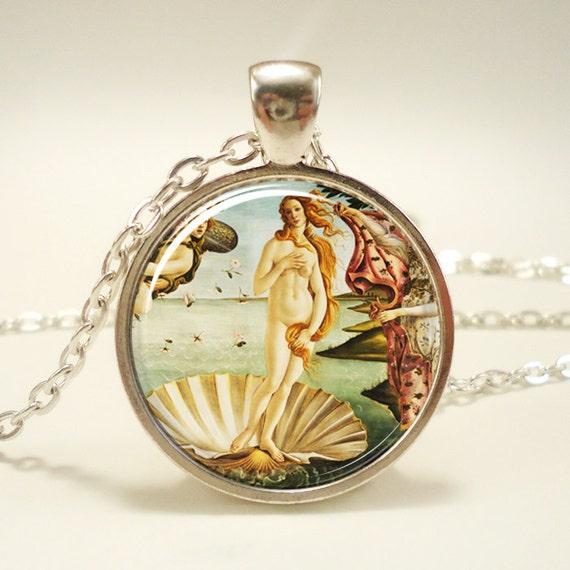 The Birth of Venus Necklace, Botticelli Art Pendant, Roman Goddess Jewelry (0622S1IN)