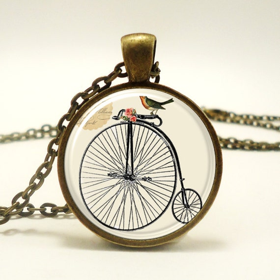 Penny Farthing High Wheel Bicycle Necklace With Bird, Victorian Era Style Jewelry (0579B1IN)