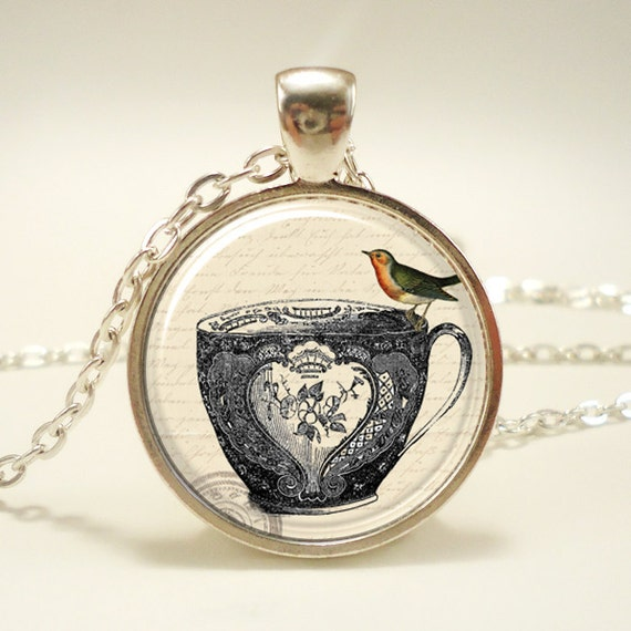 Tea Cup Necklace, Victorian Style Jewelry (0582S1IN)