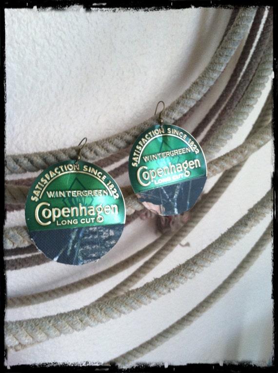 Green Camo Copenhagen Lid Earrings