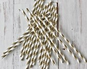 CUSTOM LISTING for Dominique - 75 X Metallic Gold Stripe Paper Straws