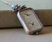 Time Travel - Dual clock nostaligic pendant - vintage inspired watch pendant