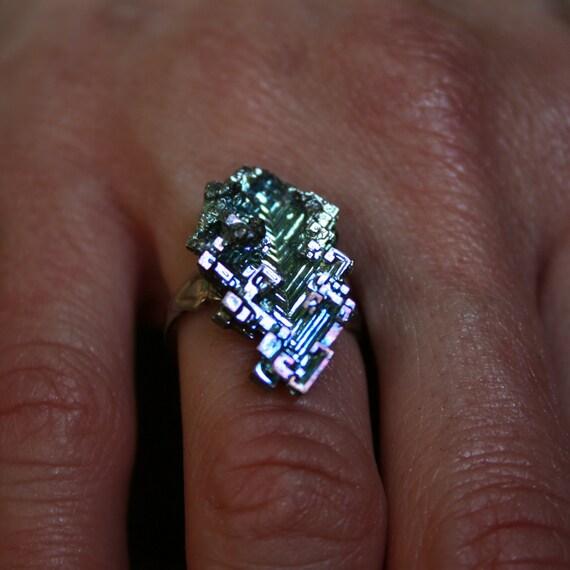 Oak Leaf in Blue,  Iridescent Bismuth Crystal Ring