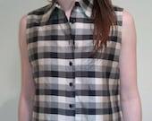 Vintage Gingham Plaid Sleeveless Silk Button top shirt