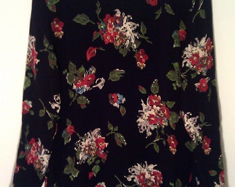 Vintage Black Floral Long Sleeved Blouse Small Medium