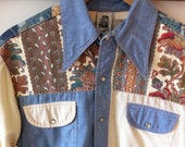 Men's Western Denim Pearl Snap Rodeo Button Down Shirt
