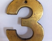 Industrial Vintage Metal House Number Three
