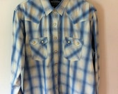 Women's Rough Stock Blue Plaid Pearls Snap Western Shirt