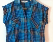 C'Mon Cropped Blue Plaid Summer Blouse