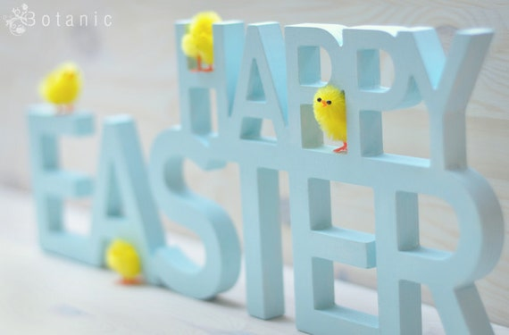 Easter sign, wooden Esster decorations, wood words, custom colors
