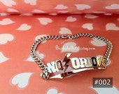 Personalized Name Bracelet come with large chain white gold, gold plated or brass at the same price.
