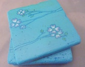Dogwood blossom coasters in blue