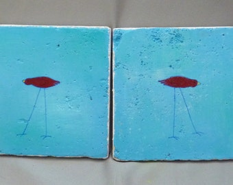 Crimson and turquoise with whimsical bird coasters