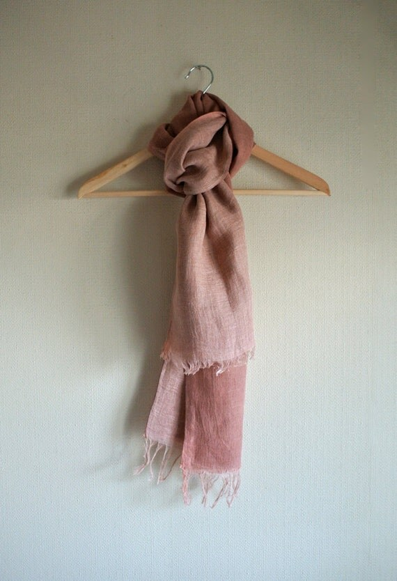 100% Natural (Madder) dyed coral red reversible Linen scarf