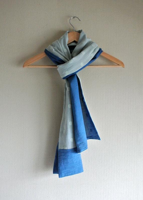 SALE Natural (dry/ fresh Indigo) dyed aqua colors reversible cotton scarf