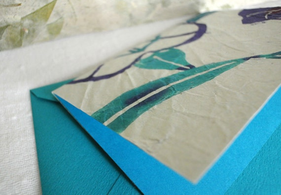 Turquoise color Katazome stencil dyed greeting card