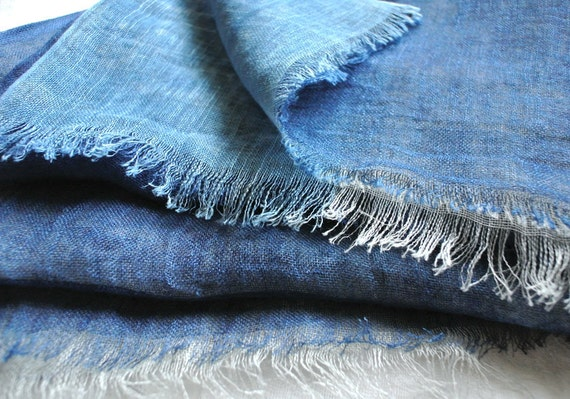 Natural Indigo dyed rusty looking, reversible and graduation Linen scarf