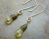 14k Gold Filled Wire earrings with faceted lemon glass Aurora Borealis brass wrapped