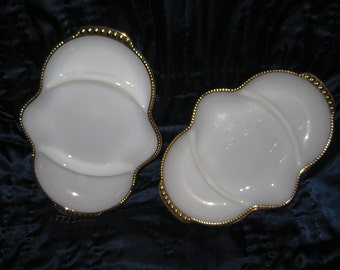 Milk Glass Divided Relish Trays set of TWO in Perfect condtion