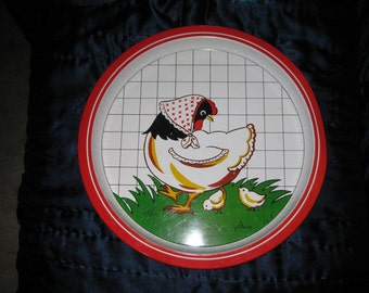 Happy Chicken with chicks Metal Serving Tray 12.5  inches