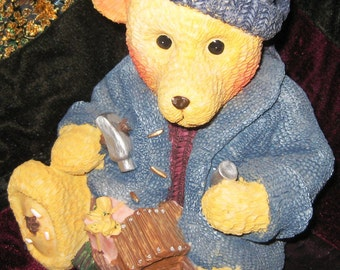 """Bear Bank with House boat, gifts, and tools 8"""" MINT"""